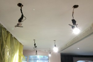 Kitchen extension, plastering new ceilin