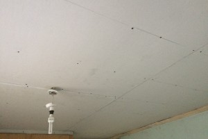 Removing ceiling and re-boarding